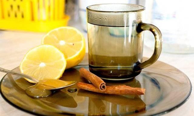 Корица, мед, лимон, вода